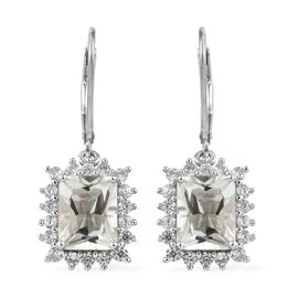 5.25 Ct Prasiolite and Zircon Halo Drop Earrings in Platinum Plated Silver