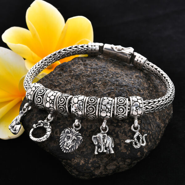 Royal Bali Collection - Sterling Silver Multi Charm Tulang Naga Bracelet (Size 6.5), Silver wt 42.00 Gms