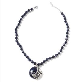Blue Sandstone (Rnd), White Austrian Crystal Peacock Beads Necklace (Size 18 with 2 inch Extender) i