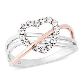 J Francis - Crystal from Swarovski White Crystal (Rnd) Criss Cross Heart Ring in Rose Gold Plated St