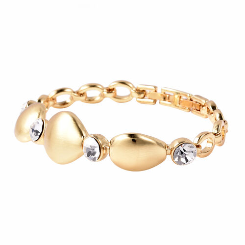 White Austrian Crystal Bracelet (Size 7) in Yellow Gold Tone