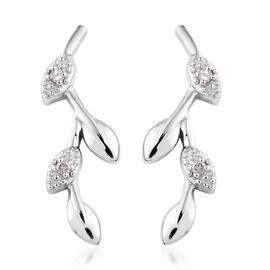 Diamond Platinum Overlay Sterling Silver Earring  0.050  Ct.
