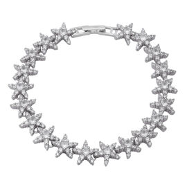 ELANZA Simulated Diamond Charm Bracelet in Rhodium Plated Sterling Silver 11.76 Grams 7.5 Inch