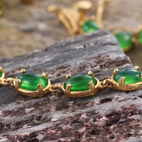 Green Ethiopian Opal (Ovl) Bracelet (Size 7.5) in 14K Gold Overlay Sterling Silver 5.000 Ct.