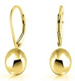 Yellow Gold Overlay Sterling Silver Lever Back Ball Drop Earring