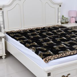 Super Auction-Super Soft Reversible Faux Fur Mink Leopard Pattern Blanket (Size 200x150 cm)