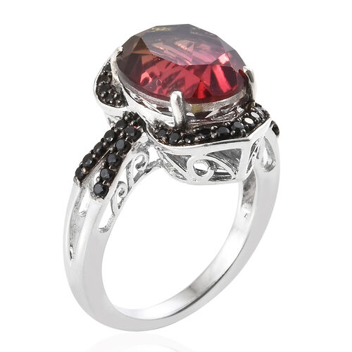 Finch Quartz (Ovl 5.55 Ct), Boi Ploi Black Spinel Ring in Platinum Overlay Black Plating Sterling Silver 6.000 Ct.