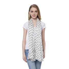 100% Mulberry Silk Black Colour Polka Dots Pattern White Colour Scarf (180x110 Cm)
