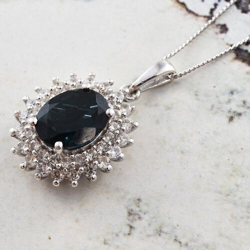 London Blue Topaz (Ovl 2.80 Ct), Natural Cambodian Zircon Pendant with Chain in Platinum Overlay Sterling Silver 3.500 Ct.