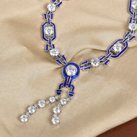 J Francis Platinum Overlay Sterling Silver Enamelled Necklace (Size 20 with Ext.) Made with SWAROVSKI ZIRCONIA 25.89 Ct, Silver wt. 27.56 Gms