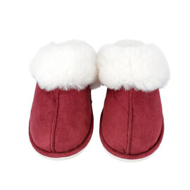 Super Soft Suede Home Slippers with Faux Fur (Size M: 5-6) - Burgundy