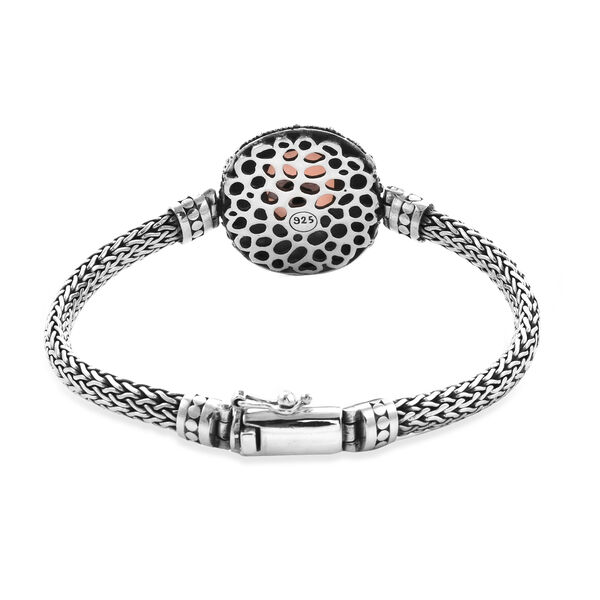Royal Bali Collection - Peruvian Pink Opal (Ovl 18x13mm) Tulang Naga Bracelet (Size 6.75) in Sterling Silver 8.77 Ct, Silver wt 32.50 Gms