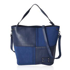 Blue Colour Tote Bag with Detachable Shoulder Strap and External Zipper Pocket (Size 39x30x14.5 Cm)