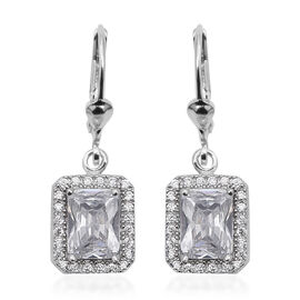 ELANZA Simulated Diamond Drop Earrings in Rhodium Plated Sterling Silver 4.18 Grams With Lever Back