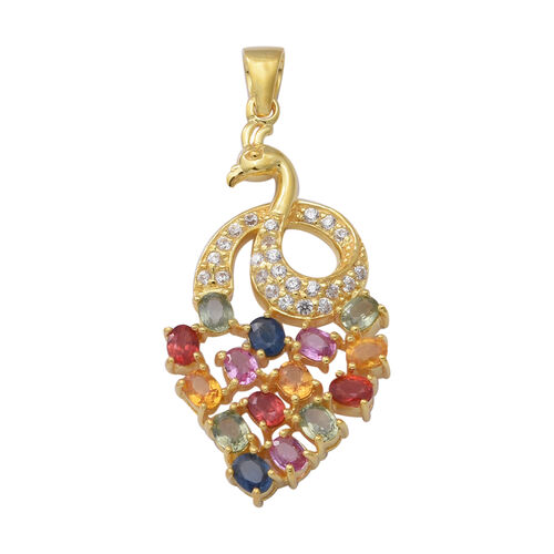 Rainbow Sapphire and Natural Cambodian Zircon Peacock Pendant in Yellow Gold Overlay Sterling Silver