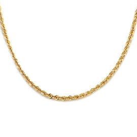 Italian Made 9K Yellow Gold Diamond Cut  Rope Necklace (Size 18)