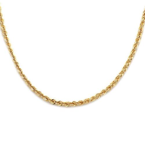 Italian Made 9K Yellow Gold Diamond Cut  Rope Necklace (Size 18)