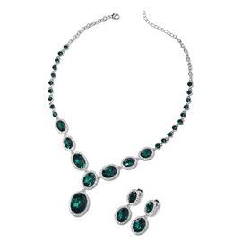 2 Piece Set - Simulated Emerald, White and Green Austrian Crystal Necklace and Earrings (Size 20 wit