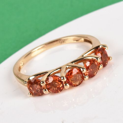 Limited Available- 9K Yellow Gold AA Sunset Sapphire Five Stone Ring 1.75 Ct.