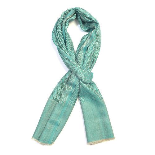 100% Cashmere Wool Green Colour Geometric Pattern Scarf (Size 200x70 Cm)