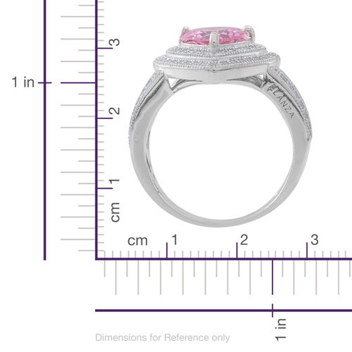 ELANZA Simulated Pink Sapphire (Hrt), Simulated White Diamond Ring in Rhodium Plated Sterling Silver