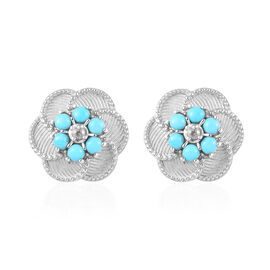 2 Carat Arizona Sleeping Beauty Turquoise and Zircon Floral Stud Earrings in Platinum Plated Silver