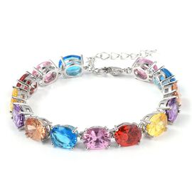 Multi Colour Simulated Gemstone Tennis Style Bracelet in Silver Tone Size 8 Inch