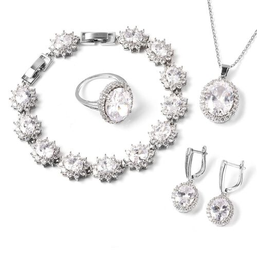 4 Piece Set -  Simulated Diamond Ring, Necklace (Size 20 with 2 inch Ext.), Barcelet (Size 8 with Ex