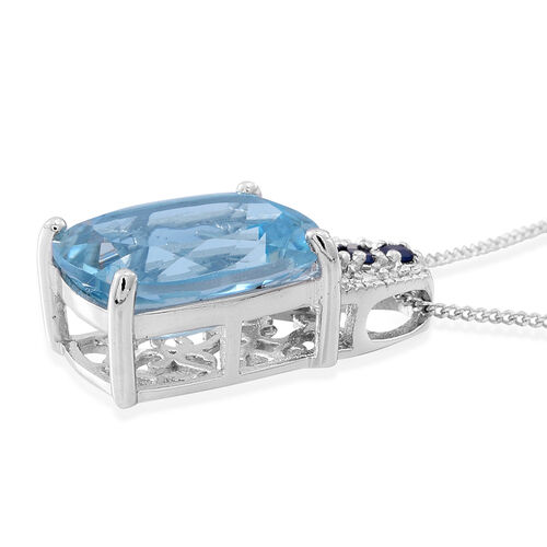 Electric Swiss Blue Topaz (Cush 7.60 Ct), Kanchanaburi Blue Sapphire Pendant With Chain (Size 18) in Rhodium Plated Sterling Silver 8.000 Ct.