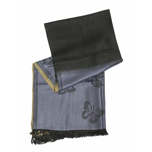 Beige Blush, Grey and Black Colour Floral Pattern Scarf with Fringes (Size 180x65 Cm)