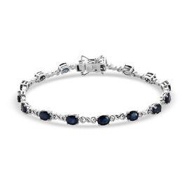 DOD - Masoala Blue Sapphire Bracelet (Size 7) Platinum Overlay Sterling Silver 6.75 Ct, Silver wt. 6