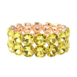 Simulated Yellow Sapphire Stretchable Bracelet in gold Plated 6.5 Inch