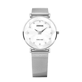 Jowissa - Facet Swiss Water Resistant White Dial Bracelet Watch with Star Cut and Stainless Steel Me