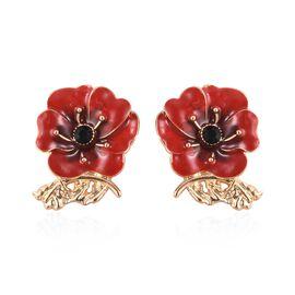 TJC Poppy Design Red and Black Enamelled Poppy Flower Gold Tone Earrings