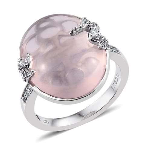 GP Rose Quartz (Ovl 15.10 Ct), Natural Cambodian Zircon and Kanchanaburi Blue Sapphire Ring in Platinum Overlay Sterling Silver 15.250 Ct.
