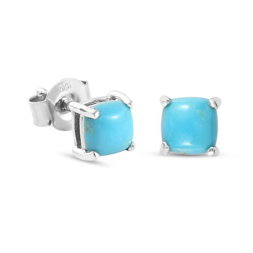 Arizona Sleeping Beauty Turquoise Stud Earrings (with Push Back) in Platinum Overlay Sterling Silver 1.130 Ct.