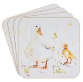 Set of 4 - Country Life Ducks Coasters (Size 10.5x10.5cm)