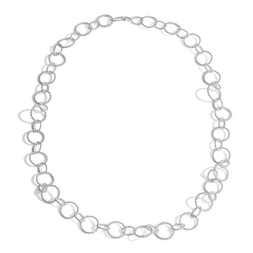 Thai Sterling Silver Oval Link Necklace (Size 30), Silver wt 39.40 Gms.