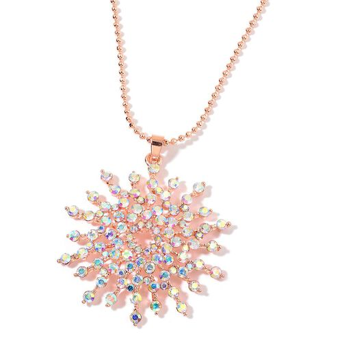 Magic Colour Austrian Crystal (Rnd) Sun Burst Pendant With Chain (Size 30 with 2 Inch Extender) in  Rose Gold Plated