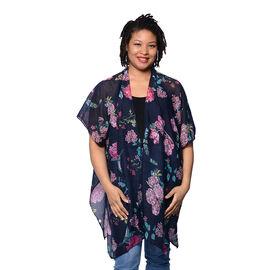 Black Floral Printed Kimono (Size 85x95cm)