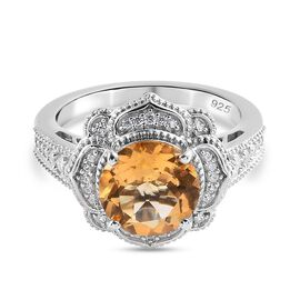 GP - Citrine, Natural Cambodian Zircon and Blue Sapphire Ring in Platinum Overlay Sterling Silver 2.