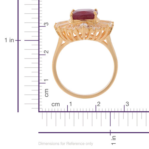 African Ruby (Cush 8.75 Ct), White Topaz Ring in 14K Gold Overlay Sterling Silver 14.500 Ct. Silver wt. 5.40 Gms.