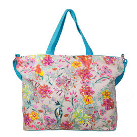 Bulaggi Collection - Flower Design Bess Shopping Bag in Blue and Multi (Size 39x12x35cm)