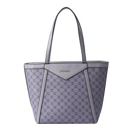 LOCK SOUL Grey Tote Bag with Checker Pattern