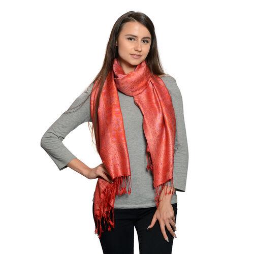 Silk Mark - 100% Super Fine Silk Flame, Golden and Multi Colour Floral Pattern Red Colour Jacquard J