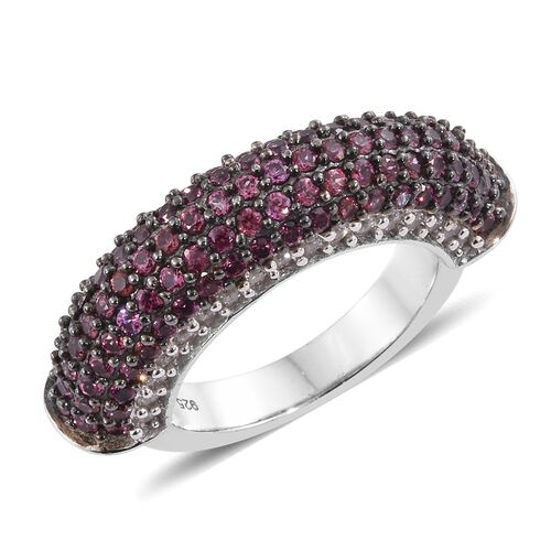 Designer Inspired-Rhodolite Garnet (Rnd), Natural Cambodian Zircon Ring in Black Rhodium and Platinum Overlay Sterling Silver 2.750 Ct. Gemstone Studded 141 Pcs, Silver wt 7.01 Gms.