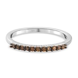 Red Diamond Half Eternity Ring in Sterling Silver 0.150 Ct.