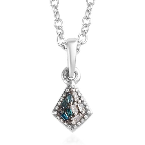 Blue and White Diamond Pendant with Chain (Size 18) in Platinum Overlay Sterling Silver 0.03 Ct.