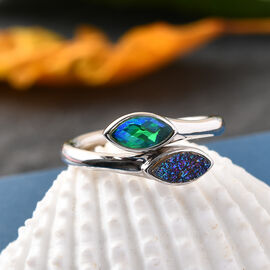 Sajan Silver ILLUMINATION Collection - Drusy Forest and Doublet Quartz Hollow  Ring in Rhodium Overlay Sterling Silver 1.50Ct.
