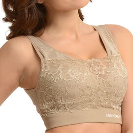 SANKOM SWITZERLAND Classic Patent Bra With Lace (Size L/XL) Colour Beige